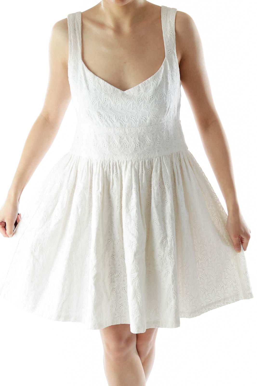 White Flower Flared Day Dress