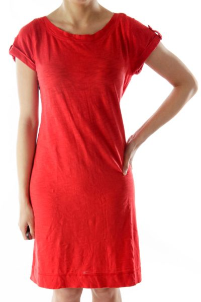 Red T-Shirt Dress with Button Details