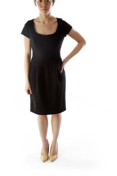 Black Wool Round-Neck Work Dress