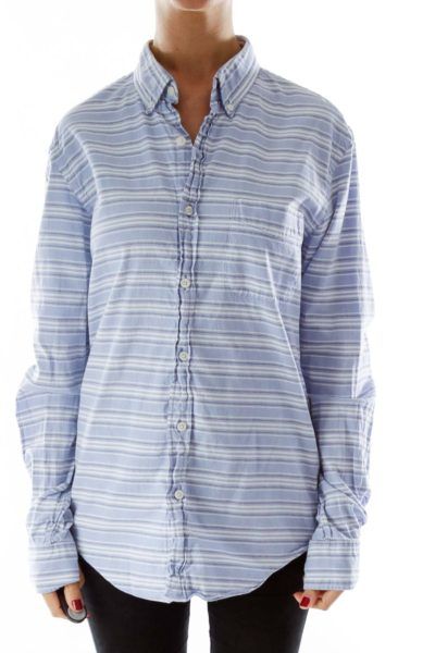 Blue White Black Striped Shirt