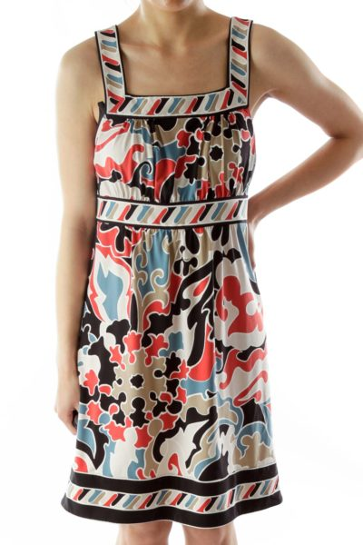 Multicolor Square Neck Print Jumper Dress