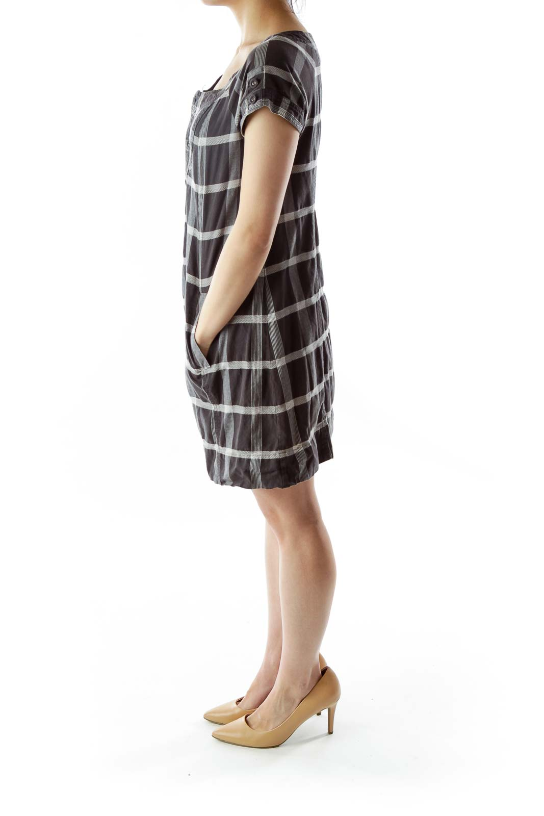 Gray White Buttoned Plaid Day Dress