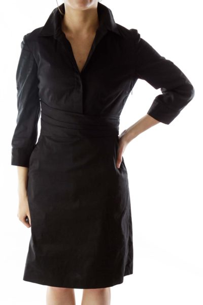 Black V-neck Pleated Work Dress