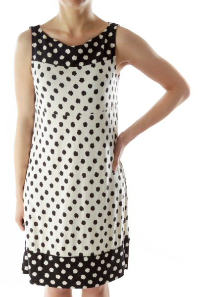 White Black Silk Print Day Dress