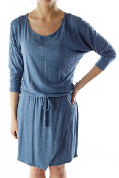 Blue Loose Drawstring Mid-Sleeve Dress