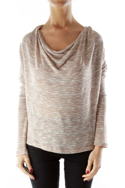 Beige Jersey Knit Cowl Neck Top