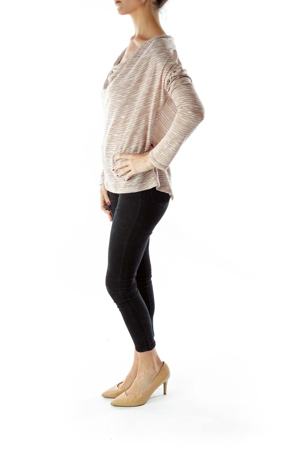 Beige Jersey Knit Cowl Neck Top