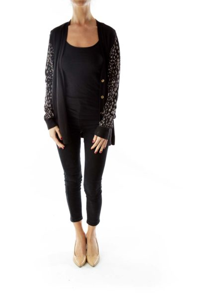 Black Buttoned Cardigan with Rhinestone Detail
