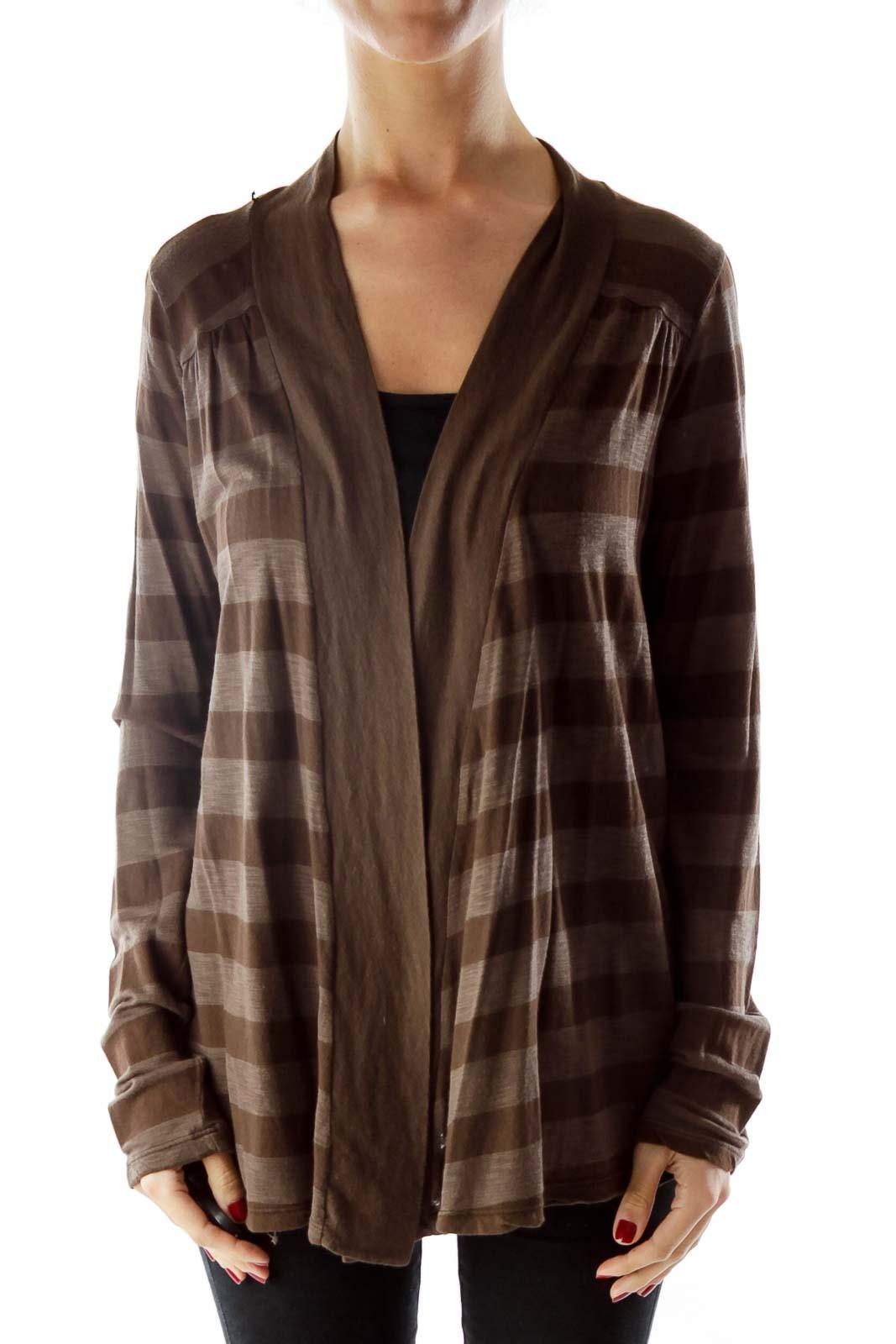 Brown Striped Cardigan