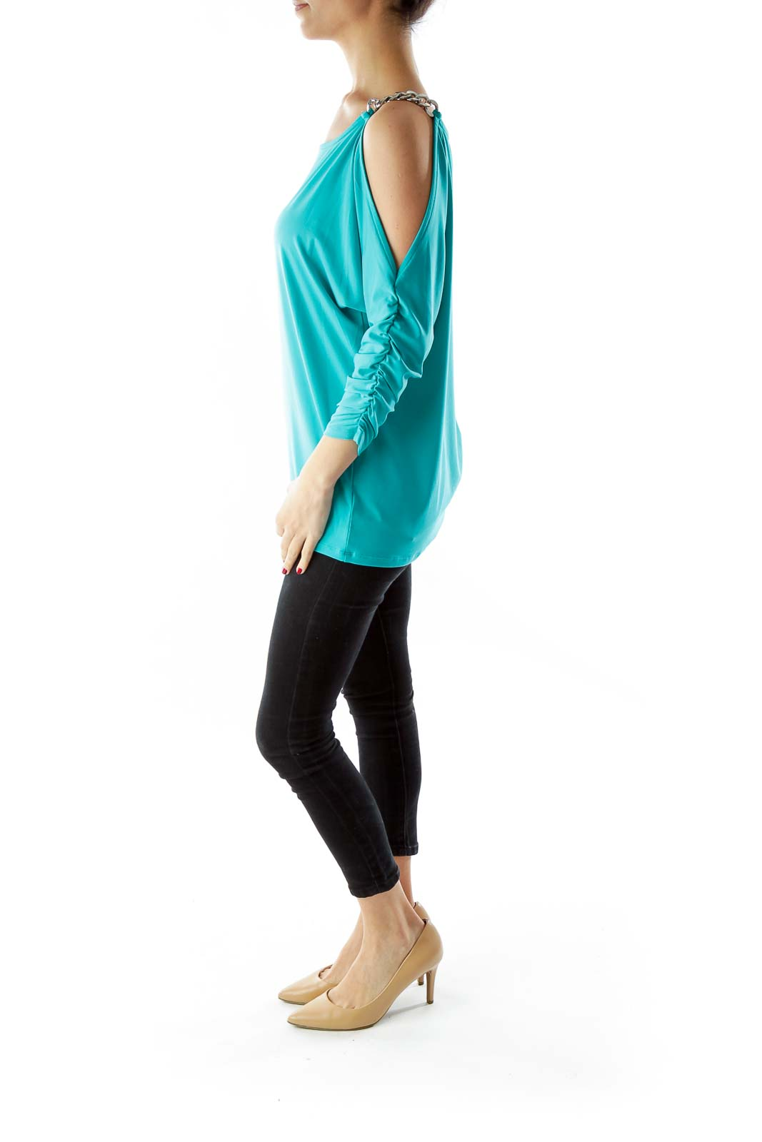Blue Cut-Out Scrunched Blouse with Metal Details