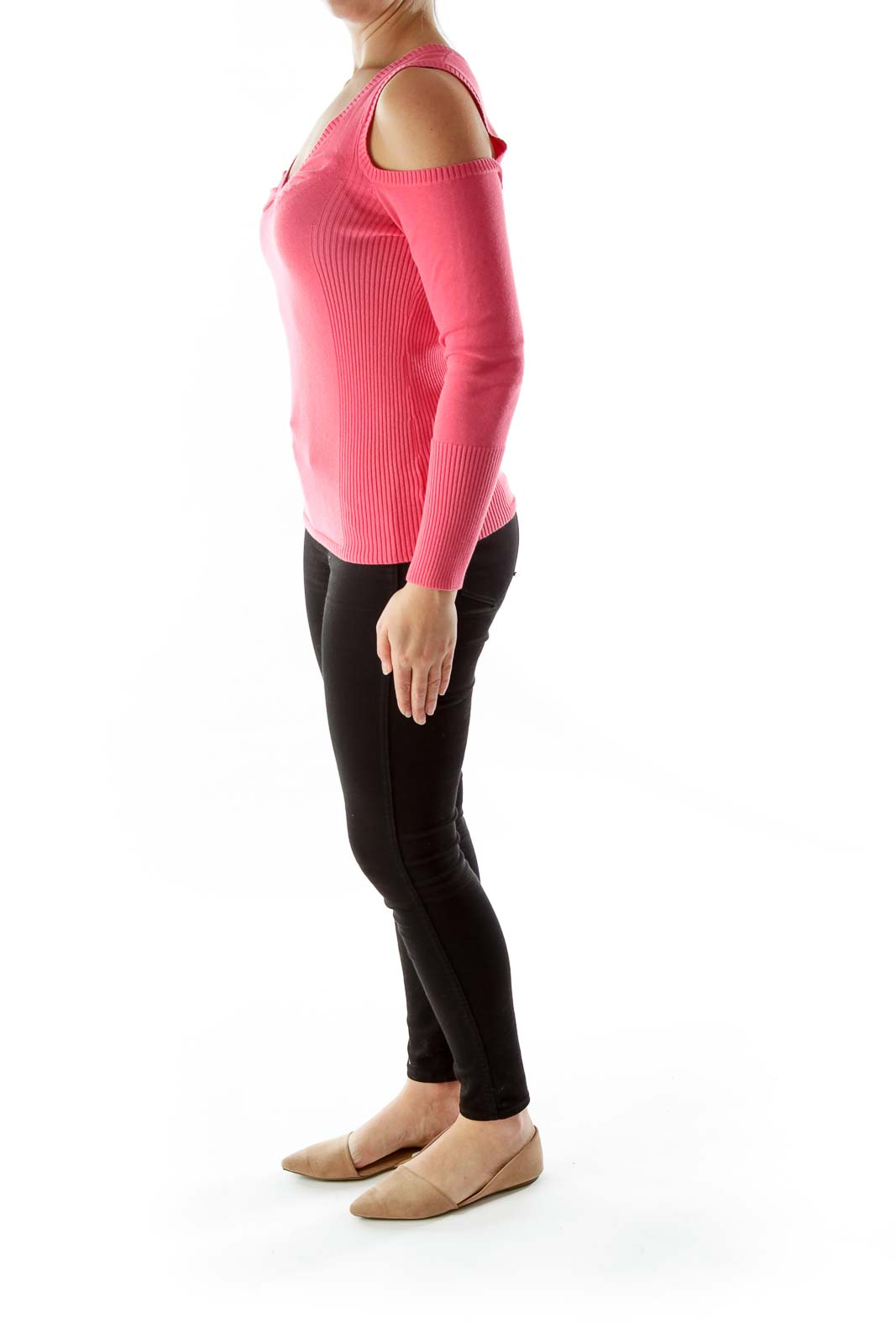Cut out shoulders Pink sweater