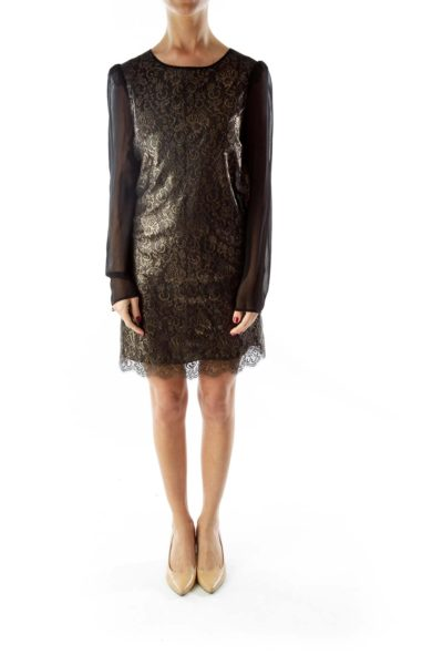 Black Gold Lace Cocktail Dress