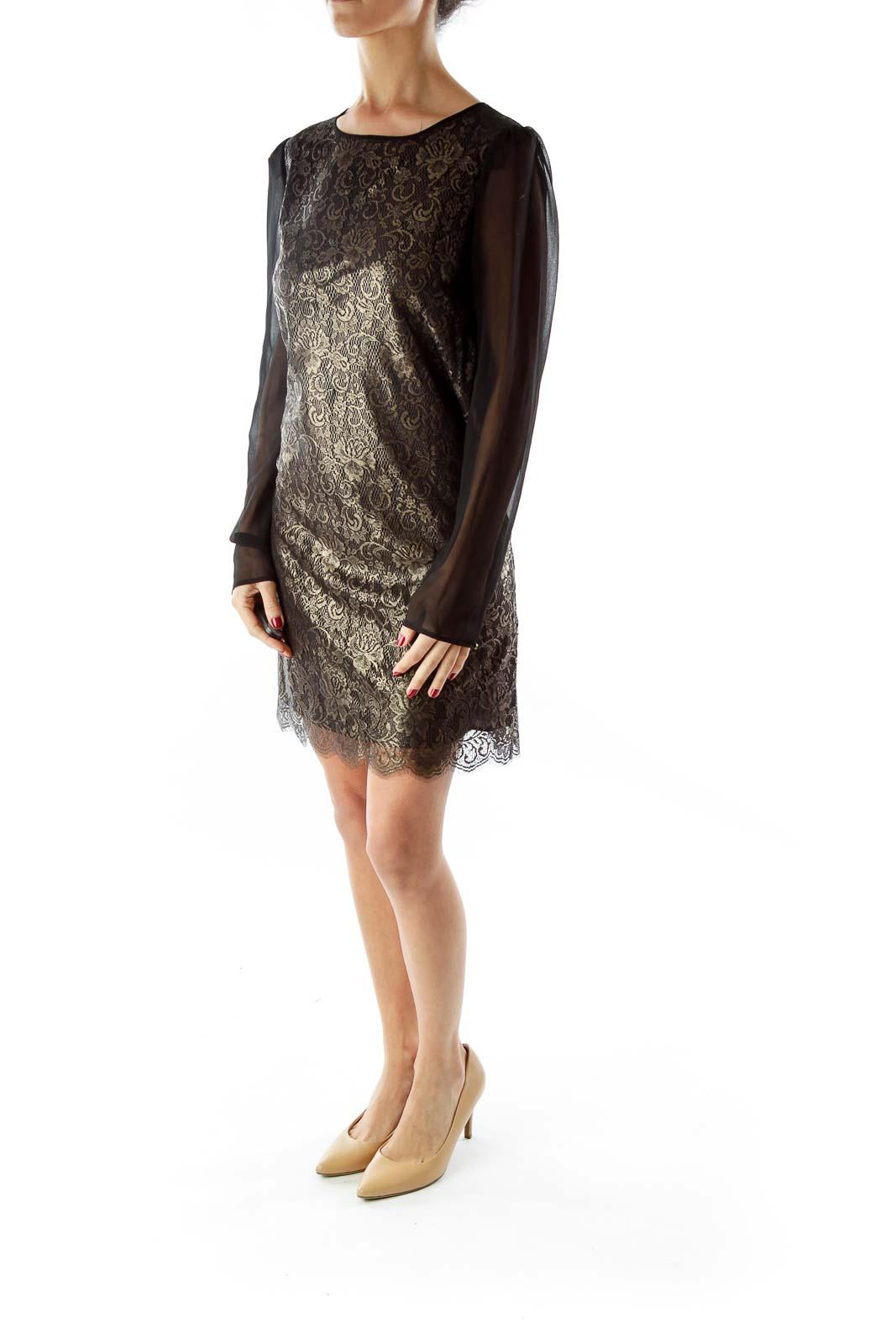 Black Gold Lace Cocktail Dress