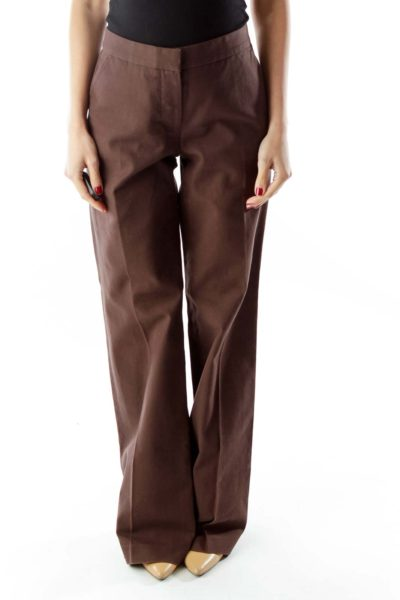 Brown Wide-Leg Pants