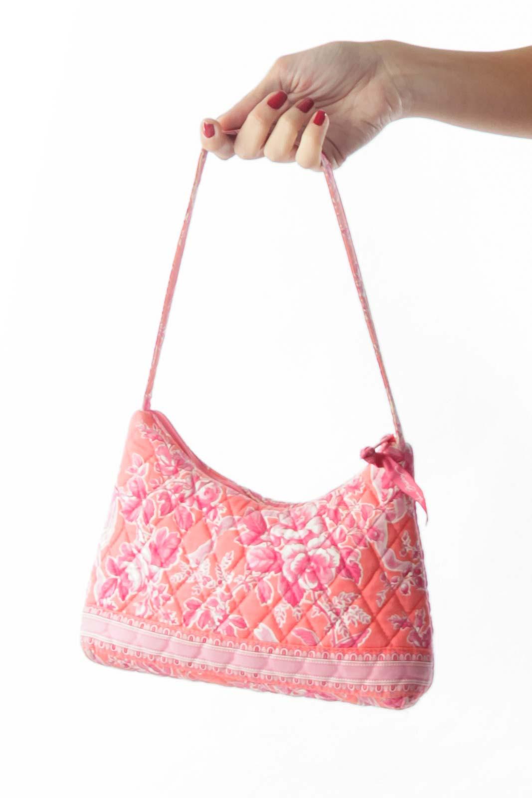 Pink Flower Quilted Shoulder Bag