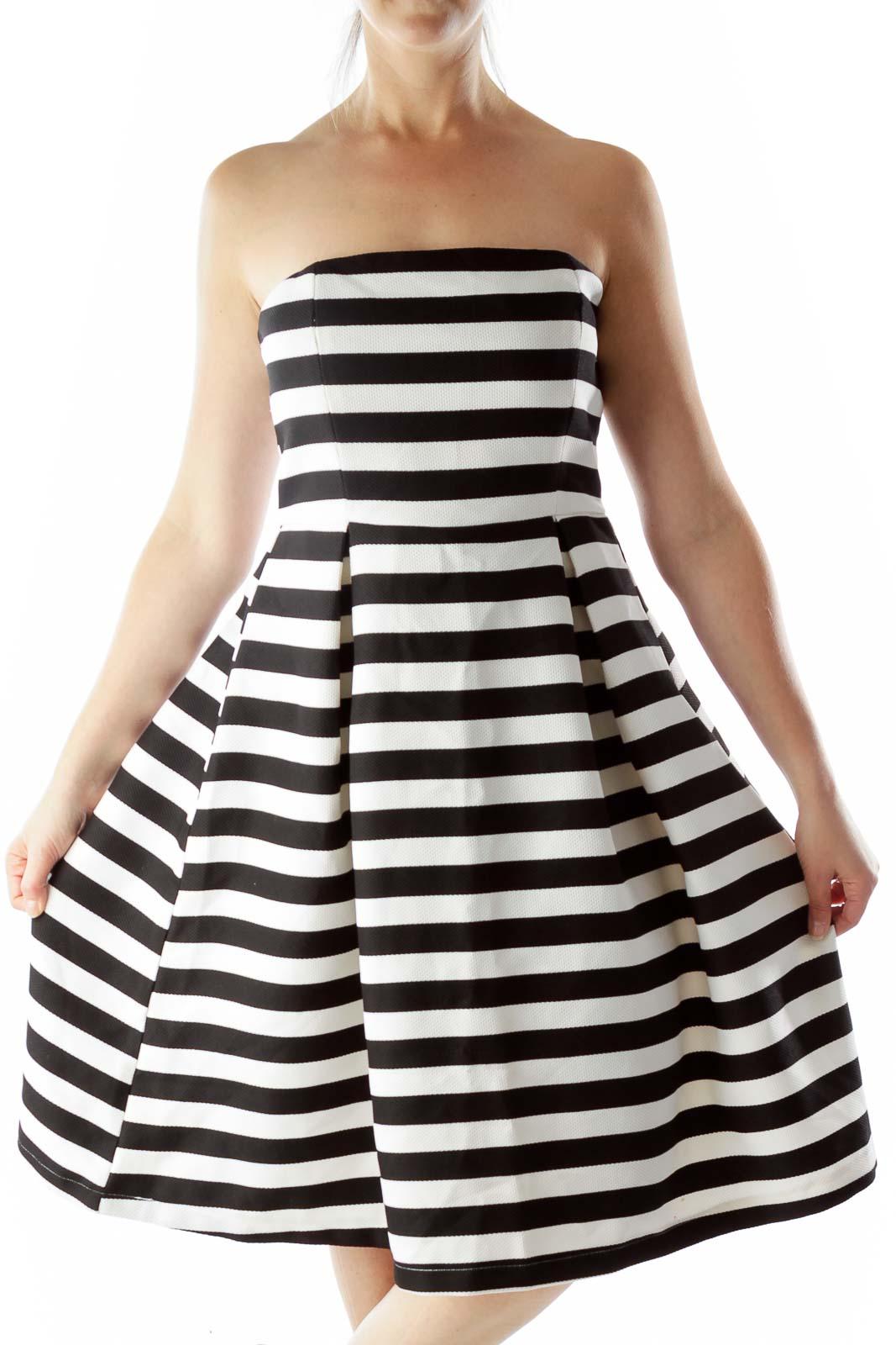 Black White Striped Strapless Dress cf8428a83f8ea