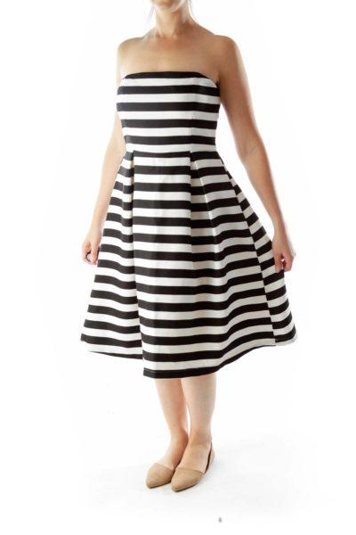 Black White Striped Strapless Dress