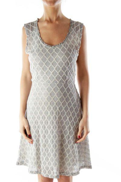 Gray Cream Lace Layered A-Line Dress