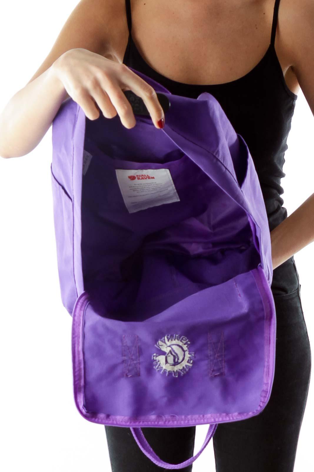 Purple Square Backpack with Pockets
