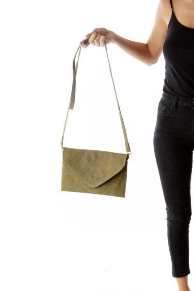 Green Suede Zippered Crossbody Bag