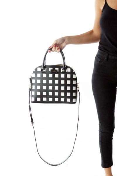 Black White Geometric Leather Satchel