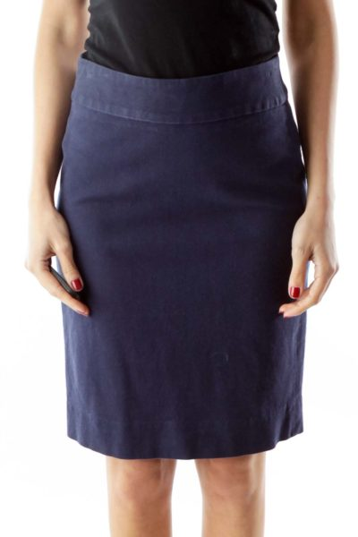 Navy Pocketed Zippered Pencil Skirt