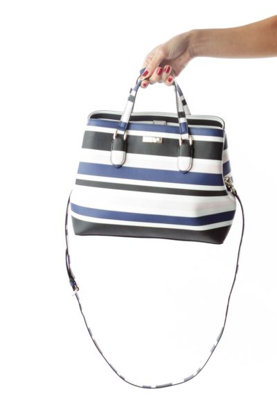Striped Multicolored Leather Satchel