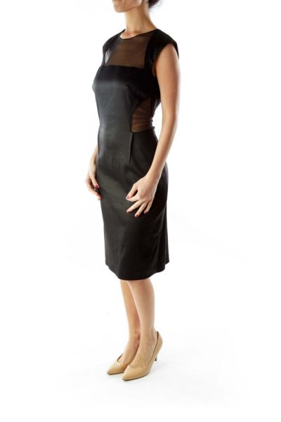 Black Fitted Mesh Dress