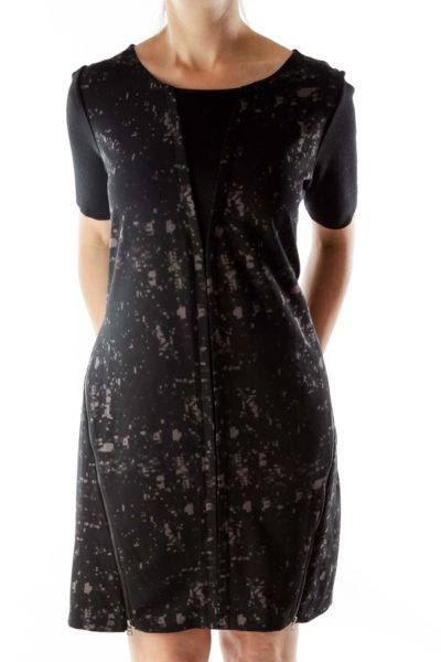 Black Gray Print Zipper Dress