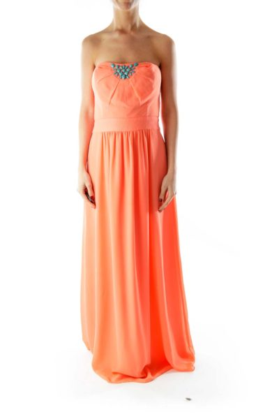 Teal Beaded Strapless Orange Floor length Dress