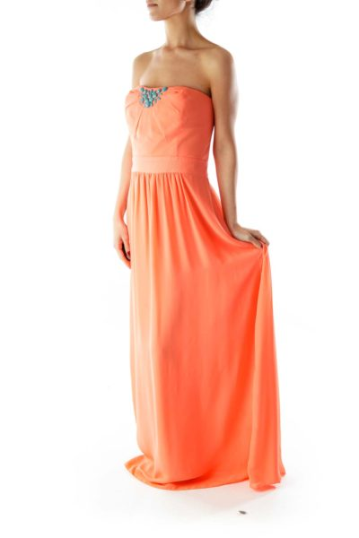 Teal Beaded Strapless Orange Floor length Dress