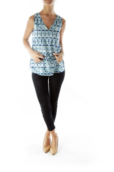 Blue and white printed top