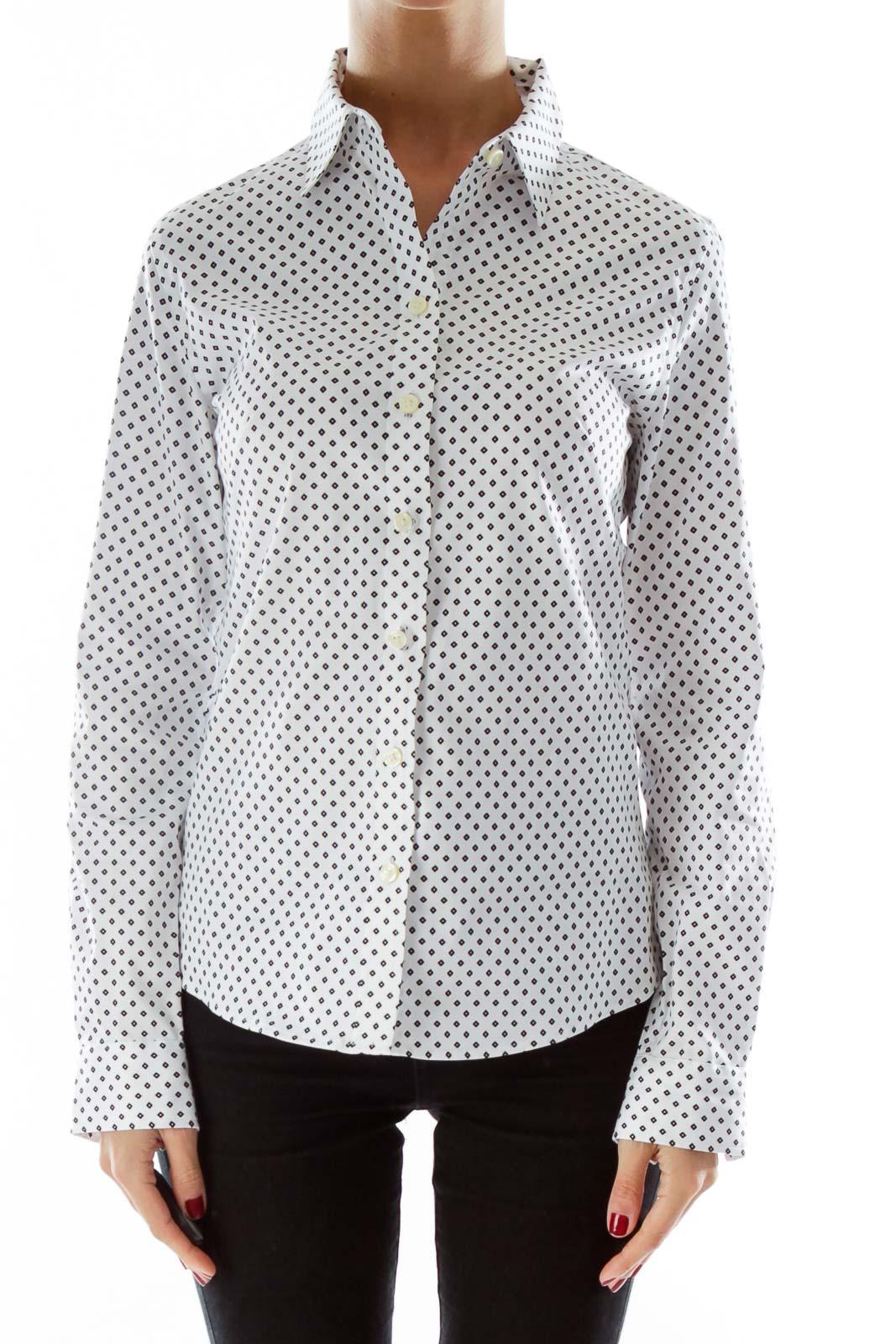 White Black Diamond Print Shirt