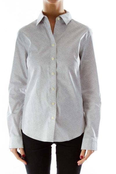 Gray Cheetah print button up shirt
