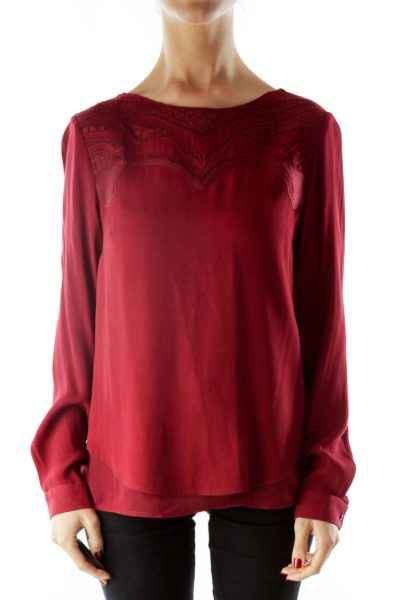 Embroidered Burgundy long sleeve top