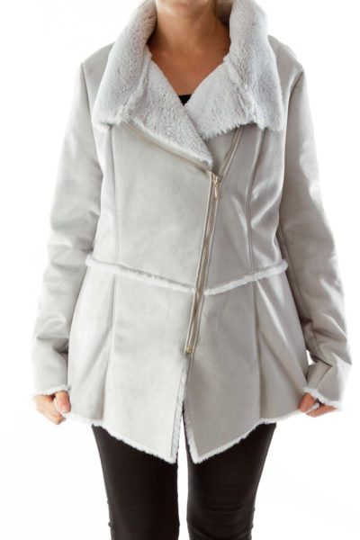 Gray Fur lined coat