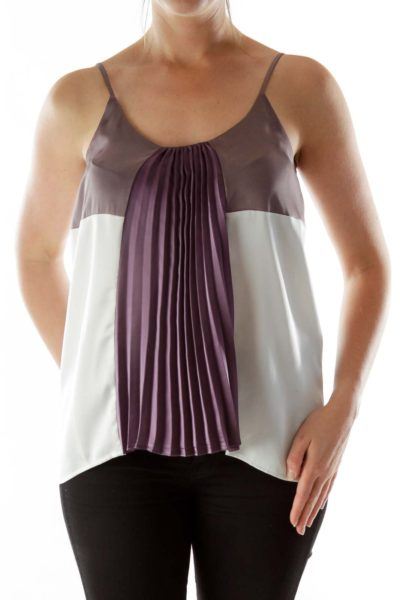 Purple and white pleated tank top