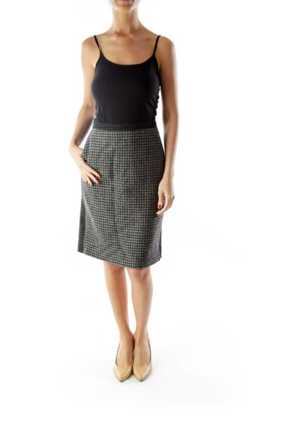 Gray Black Houndstooth Wool Pencil Skirt