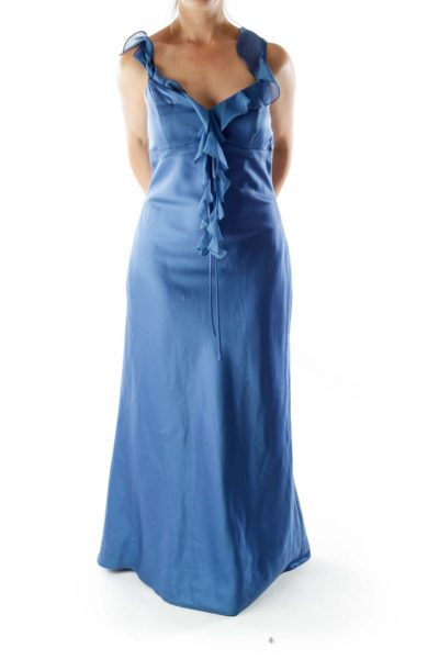 Blue V-Neck Ruffled Evening Dress