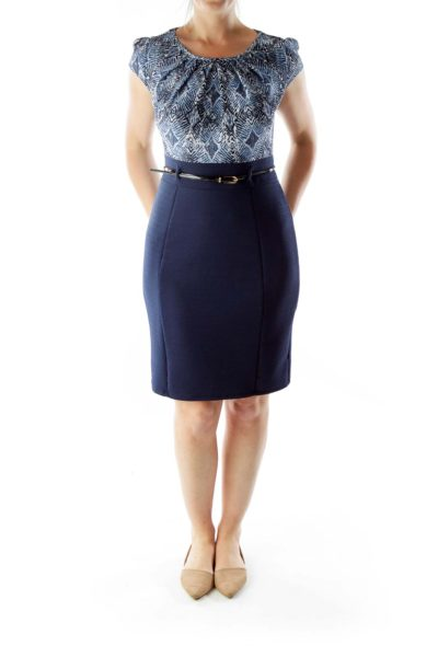 Blue Navy White Geometric Print Work Dress