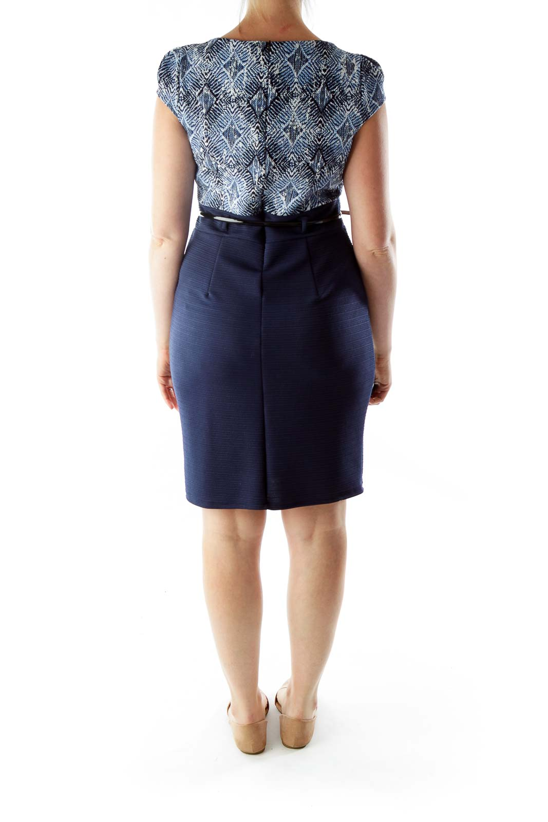 Blue Navy White Geometric Print Work Dress