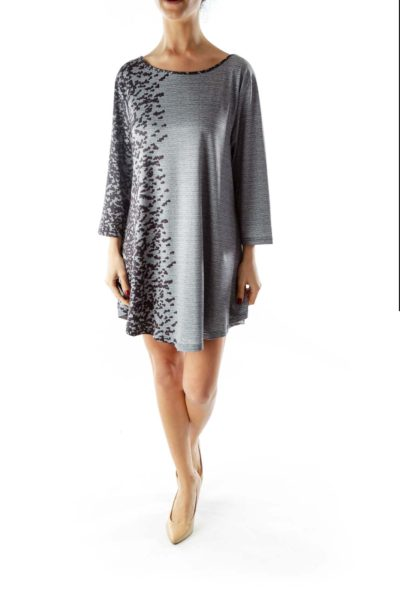 Gray Black Print Three-Quarter Sleeve Day Dress