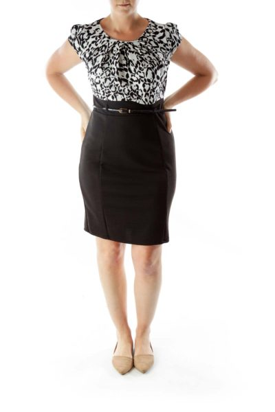 Black White Print Belted Work Dress