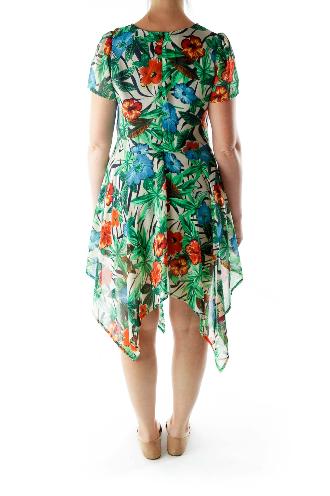 Multicolor Flower Print Asymmetrical Day Dress