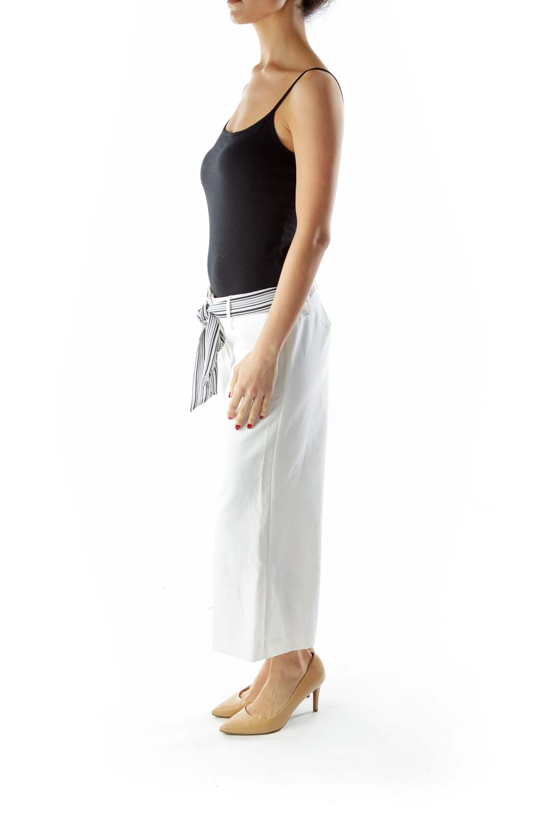 White Black Wide-Leg Pants with Sash