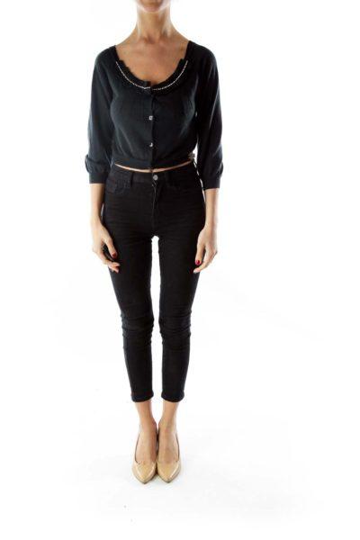 Black Cropped Beaded Wool Cardigan