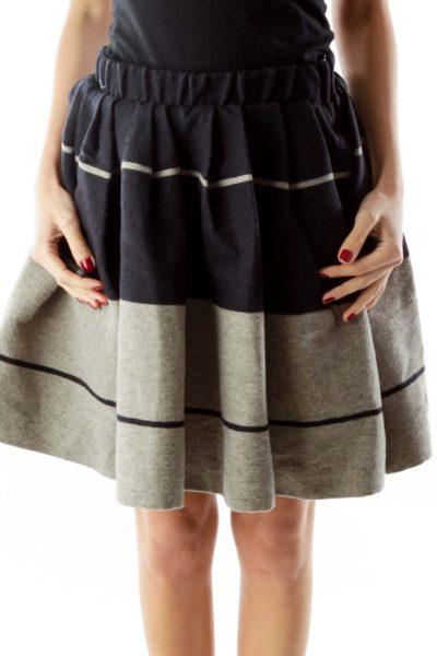 Navy Gray Wool Flared Skirt