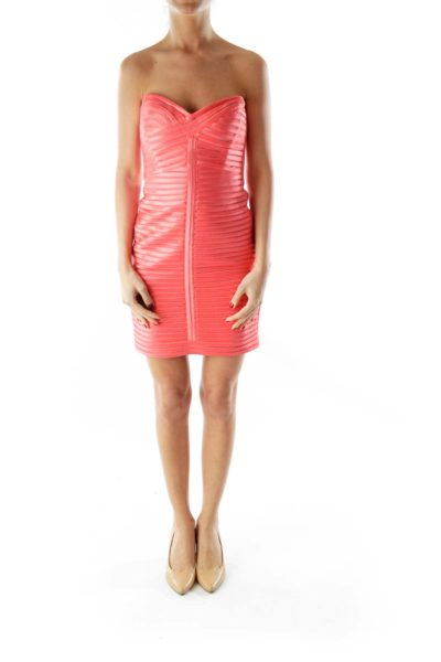 Pink Bodycon Strapless Dress