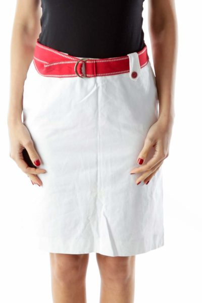 White Red Slitted Belted Pencil Skirt