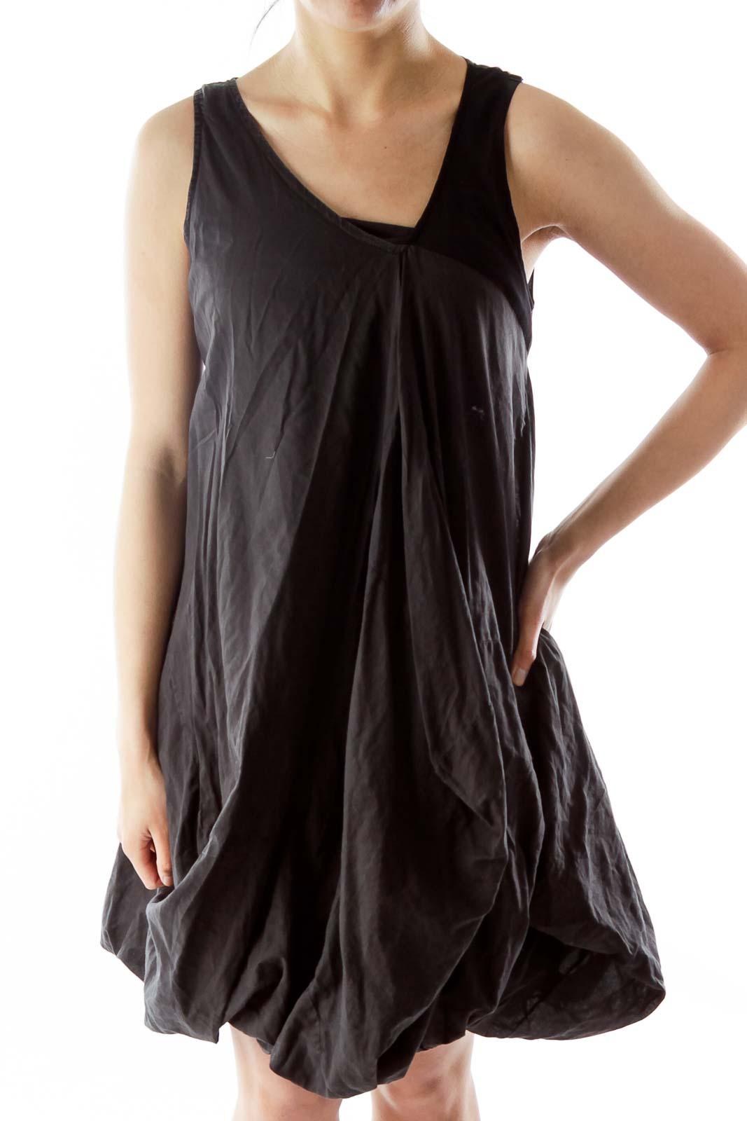 Black V-Neck Puffy Day Dress